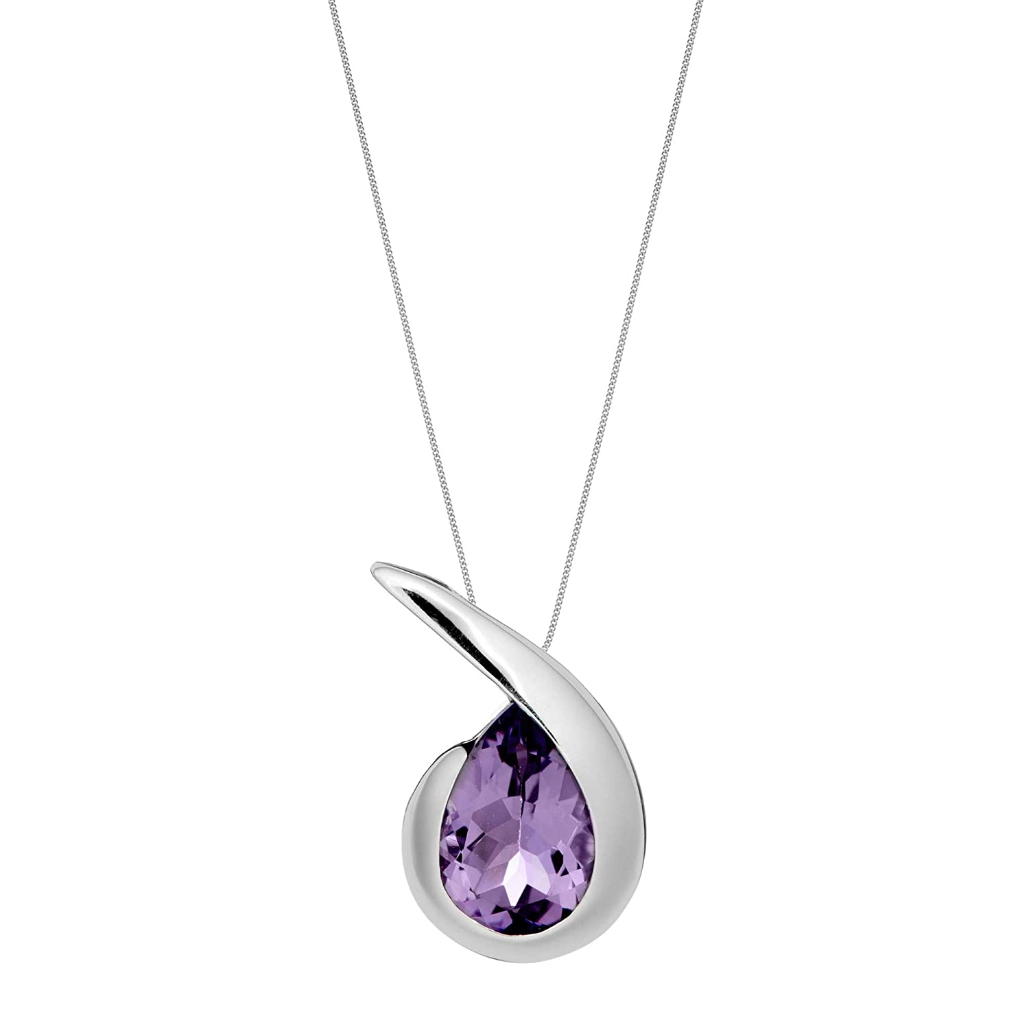 Silverly Womens .925 Sterling Silver Amethyst Comma Quotation Mark Drop Pendant Necklace 18