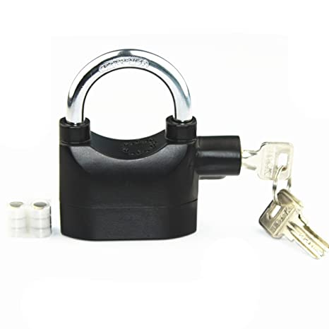 LianShi Universal Security Alarm Lock SystemAnti-Theft for Door Motor Bicycle Padlock 110dB with 3 Keys (Black)