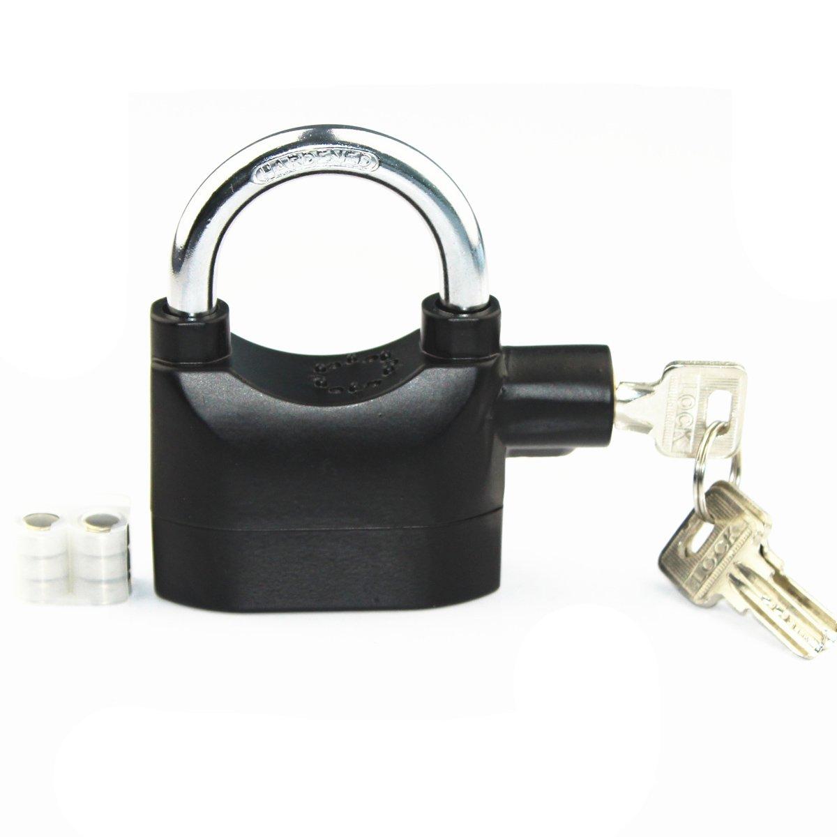 LianShi Universal Security Alarm Lock SystemAnti-Theft for Door Motor Bicycle Padlock 110dB with 3 Keys (Black)