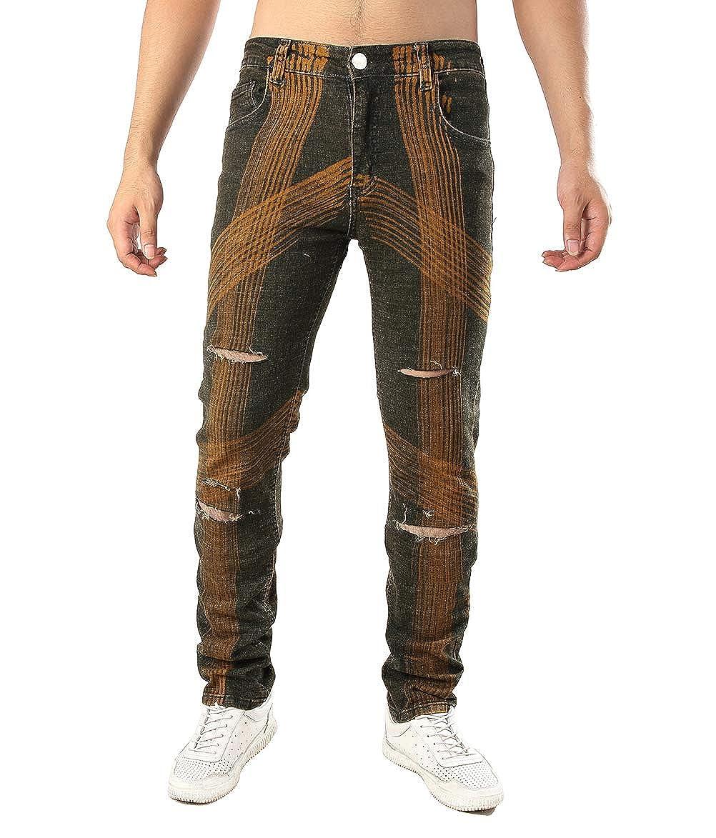 Brown L04BABY Men's Skinny Slim Fit Stretch Comfy Ripped Hole Biker Jeans Denim Pants