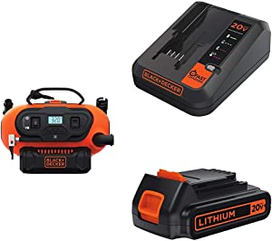 BLACK+DECKER BDINF20C 20V Lithium Cordless Multi-Purpose Inflator with Lithium-Ion Cordless To and 20V Lithium 2 Amp Charger
