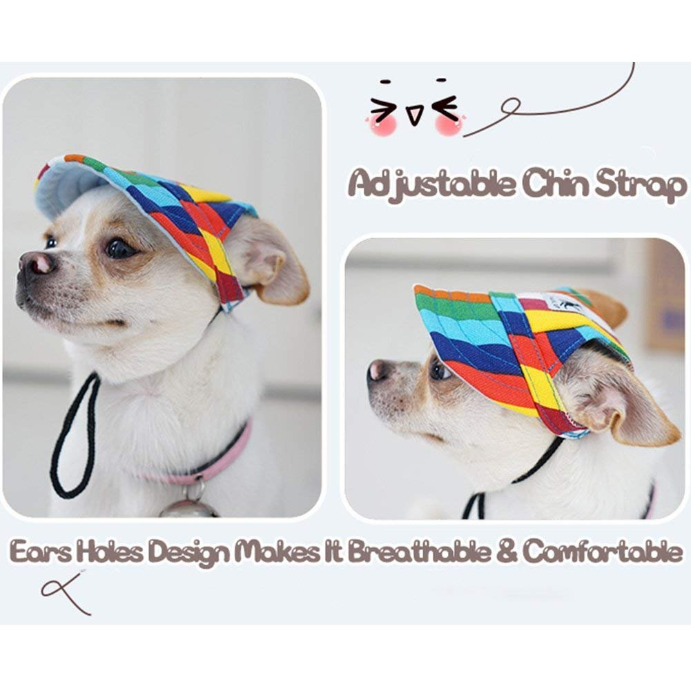 Aerobin Pet Dog Hat Baseball Hat Pet Sun Hat with Ear Holes and Chin Strap Puppy Outdoor Topee Sun Cap Sunbonnet for Small and Medium-Sized Dogs