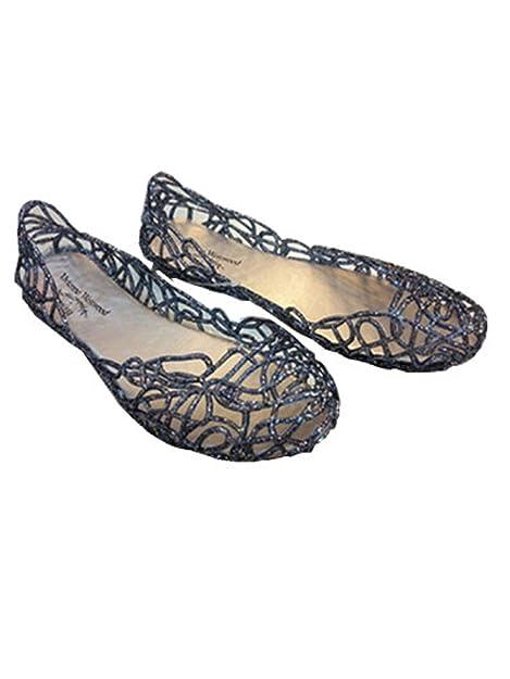 0accc56240a829 Suppersupplier Women s Bird Nest Layered Lines Jelly Flat Sandals (6 B(M) US