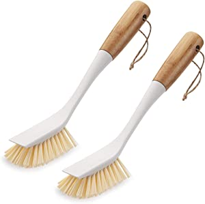 Amazer 2-Pack Dish Brush, Scrub Brush Cleaner with Wooden Long Handle Good Grip Kitchen Dish Washing Brushes for Pot Pan Plate Cleaning
