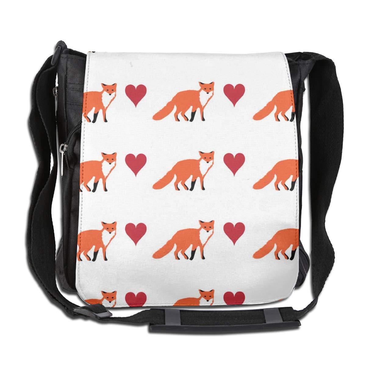 Fox Love And Kiss Men Women Inspirational Satchel Messenger Bags Crossbody Sling Working Bag Travel Shoulder Bags Office//School