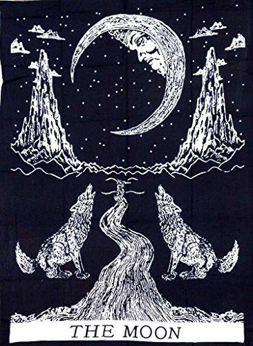 Cotton Hippy Indian Mandala Wall Hanging Bohemian Throw Decor Bedspread Tapestries (Moon Black)