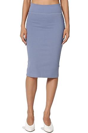 a66a6871ce392 TheMogan Junior s Curvy 4 Way Stretch Ponte High Waist Midi Pencil Skirt  Blue S