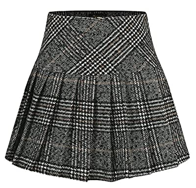 chouyatou Women's Casual High Waist Plaid A-Line Flannel Pleated Skirt