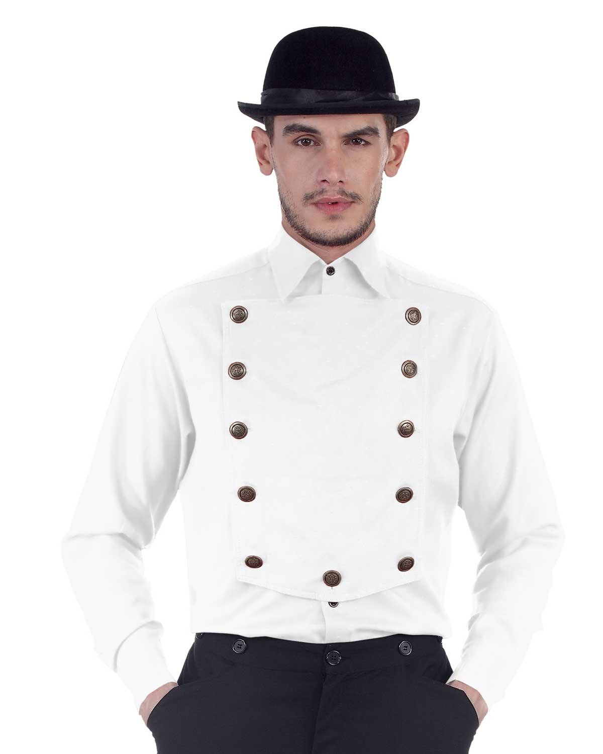 ThePirateDressing Steampunk Victorian Cosplay Costume Mens Linen Airship Shirt C1290 (White) (X-Large) by ThePirateDressing (Image #2)