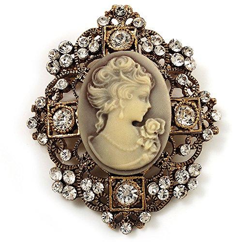 Avalaya Heiress Filigree 'Cameo' Brooch (Antique Gold Finish)