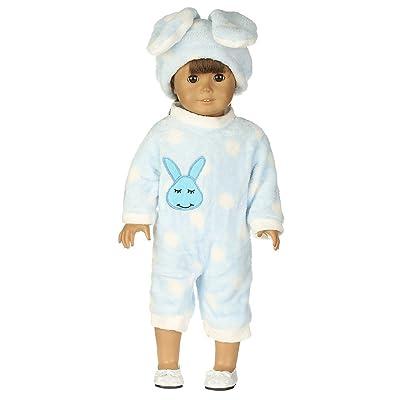 2 Piezas Sombrero de Conejo y Pijamas cómodos para 18 Pulgadas Americana Chica Muchacha Muñeca Gusspower: Juguetes y juegos