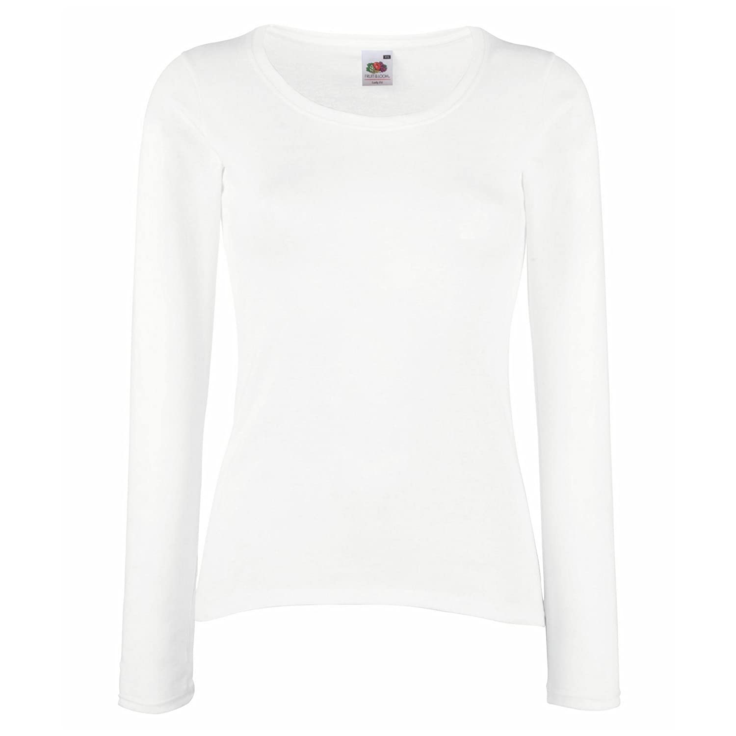 Fruit Of The Loom Ladies/Womens Lady-Fit Long Sleeve Crew Neck T-Shirt:  Amazon.co.uk: Clothing