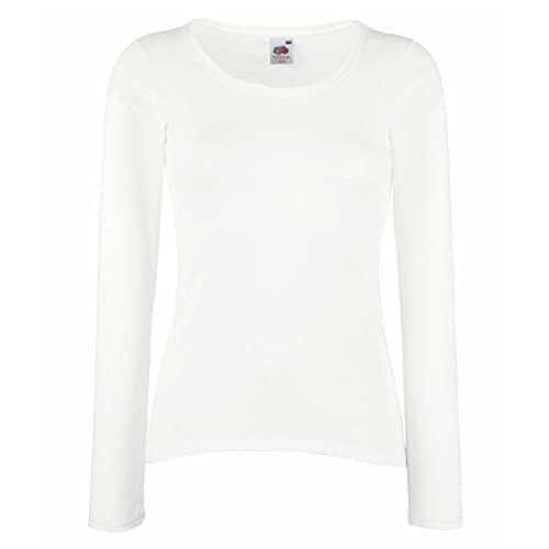 Fruit Of The Loom - Maglia Manica Lunga - Donna (M) (Bianco)
