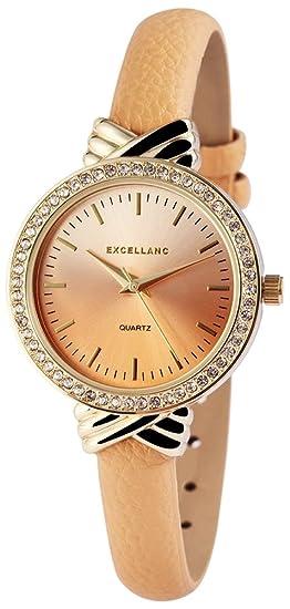 Reloj mujer marrón plata oro STRASS piel mujer reloj de pulsera