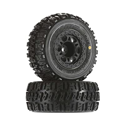 "Pro-line Racing 119022 Trencher x SC 2.3.0"" M2 (Medium) Tires Mounted On Split Six Wheels, Fits Slash Rear, Blitz: Toys & Games"
