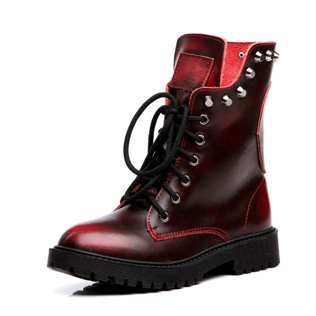 Red T-JULY Student Spring Autumn Genuine Leather Short Boots Women Riveted Short Retro Boots Martin Boots