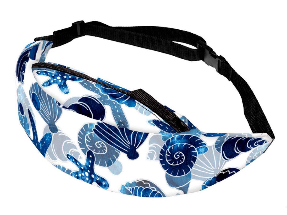 Bauchtasche Festival Hippie Hipster Gürteltasche 13 cm All-Over Print verstellbar mit Reißverschluss von Alsino, Variane wählen:GT-124 Muschel Seestern blau weiß