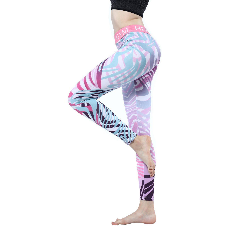 Women\'s Printed Yoga Leggings Pants Ibowo Gym Hero Capris Tights Workout (L)