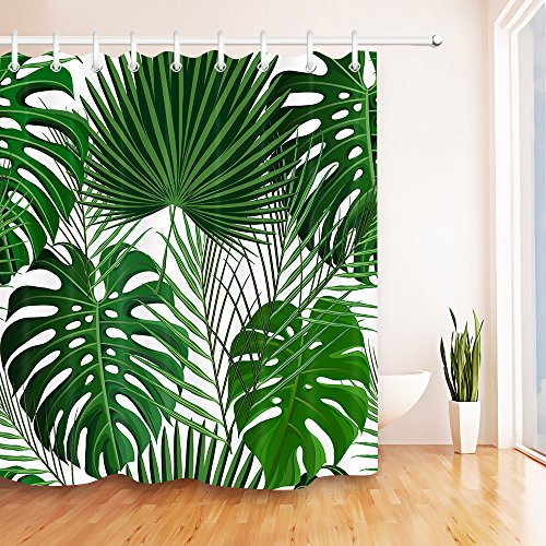 LB Tropical Jungle Leaves Decor Art Shower Curtain for Shower Stall by, Classic Green Palm Leaf Artwork Curtain for Bathroom, Mold Free Water Repellant Non Toxic Decor Curtain, 70 x 70