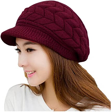Gorro de invierno de Leorx de lana, para mujer, con visera rojo ...