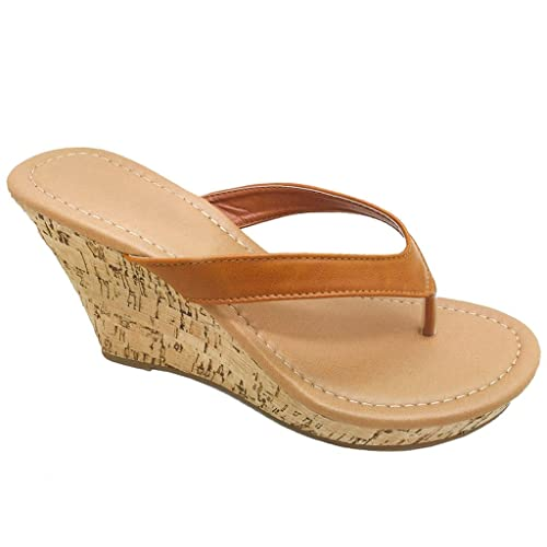 Women Platform Thong Sandals Fashion Colors Wedge Heel Shoes (Tan-B) 7.5 US