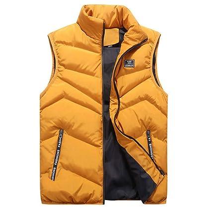 Qiusa Abrigos para Hombres, Hombres Otoño Invierno Moda Collar de Soporte Color Puro Chaleco Chaleco