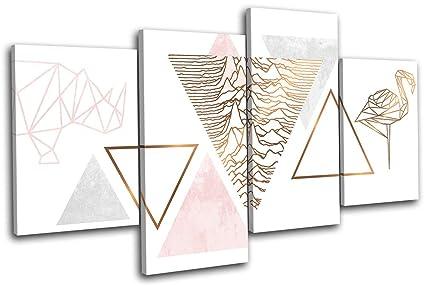 22af901ac2880 Bold Bloc Design - Geometric Flamingo Rose Gold Fashion 80x45cm MULTI  Canvas Art Print Box Framed