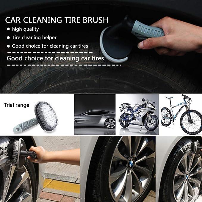 Spazzola per la pulizia di pneumatici auto Amison manico in TPR adatta per le ruote pi/ù grandi