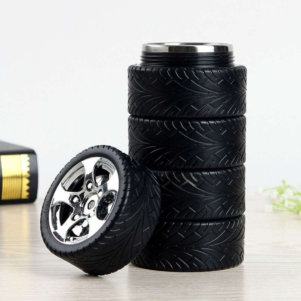 Tyre Water Bottle, Stainless Steel Coffee Mug, Gift for Car Lover, 11 oz, Black & Silver