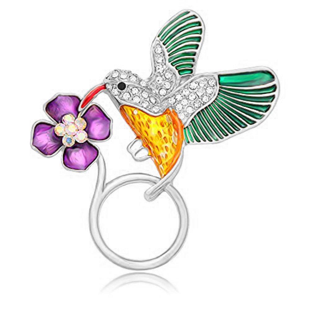 NOUMANDA Jewelry Hummingbird Magnetic Eyeglass Holder Emerald Bird Magnetic Brooch (silver)