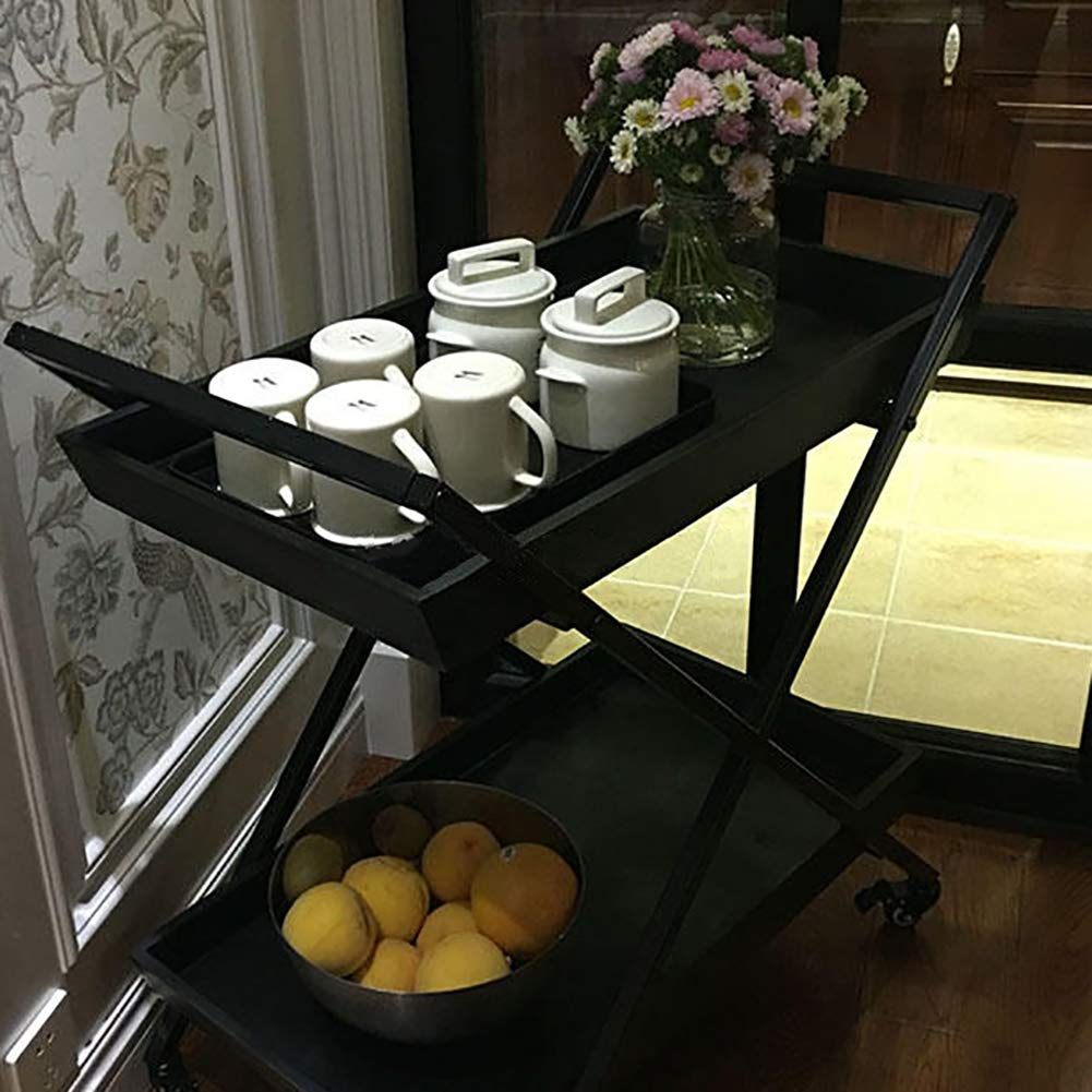 Dining Car, European Modern Dining Car Wine Rack Wine Cart Hotel Trolley, Household Metal Storage Rack with Wheels(603575cm) by Kitchen Cart (Image #3)