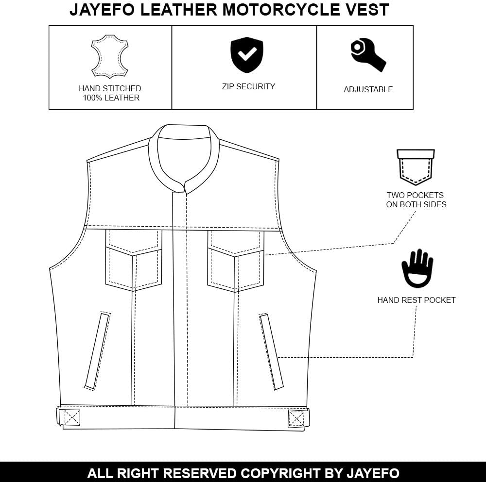 BLACK, 6-XL JAYEFO SOA MOTORCYCLE LEATHER VEST