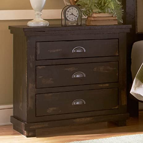 Progressive Furniture Willow Distressed Black Nightstand, 32u0026quot; ...