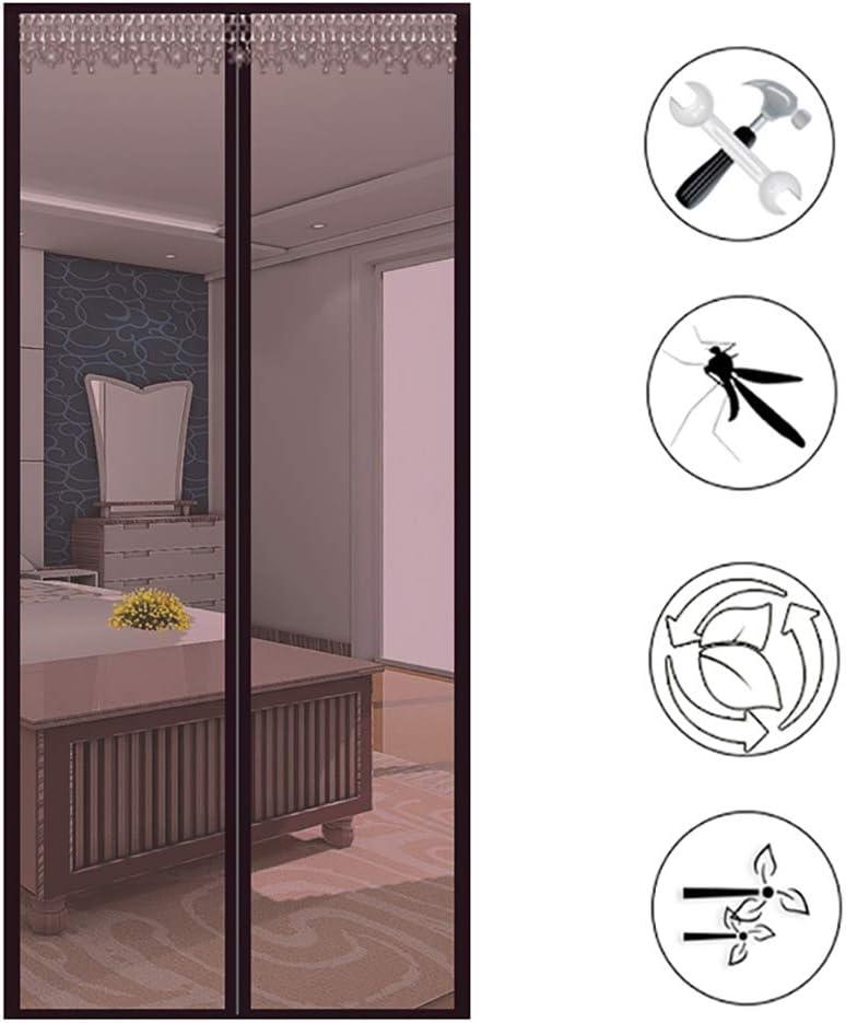 Ruber - Cortina de malla magnética para puerta corredera francesa de cristal para patio, resistente, red de insectos instantáneo manos libres con diseño de marco, garaje, barco de pesca, negro, 90 x