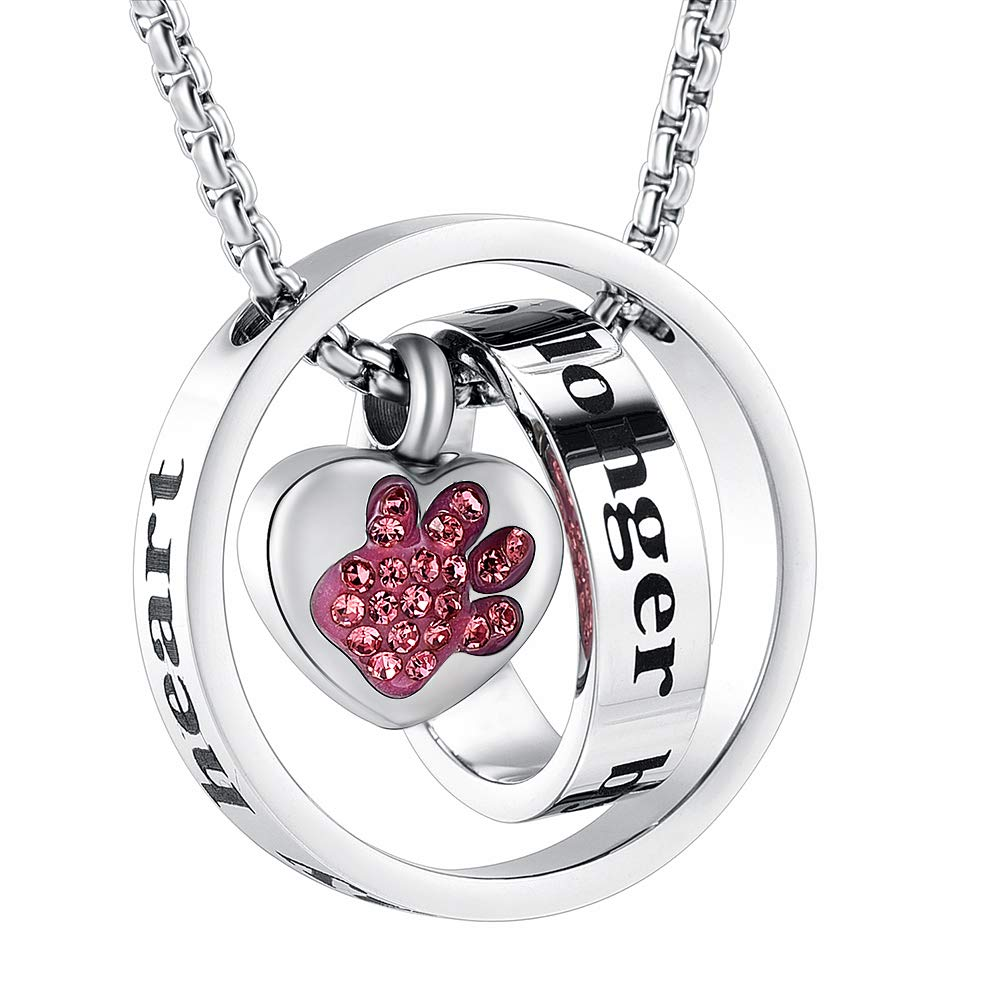 No Longer by My Side,Forever in My Heart Keepsake with Crystal Paw Print Cremation Urn Necklace for Pet Ashes