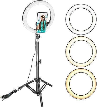 Todo para el streamer: ShengRuHai Luz de Anillo LED 10in con Trípode,Exterior 5500K Regulable LED Luz del Anillo con Soporte de Móvil,3 Modos de Luz Brillos Altura Regulable,Adecuardo de Selfie, Maquillaje, Youtube, TIK Tok