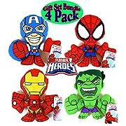 Playskool Marvel Super Hero Adventures Plush Figures Spider-Man, Iron-Man, Captain America & The Hulk Gift Set Bundle - 4 Pack
