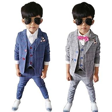72306ca5cbea2  next.design 男の子用 チェック フォーマル スーツ 3点セット グレー ブルー 入園