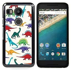 """For LG GOOGLE NEXUS 5X H790 Case , Patrón de dinosaurio blanco Saurus Niños"""" - Diseño Patrón Teléfono Caso Cubierta Case Bumper Duro Protección Case Cover Funda"""