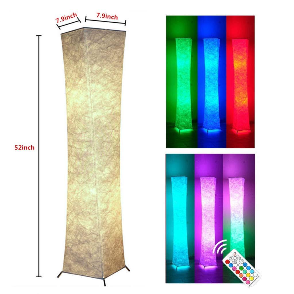 Stehleuchte LED Standleuchten Weich Stoff Stehendes Licht mit 2 Glühbirnen Fernbedienung Farbänderung Atmosphäre Beleuchtung Pedal Schalter Zuhause Dekoration Beleuchtung für Wohnzimmer Schlafzimmer,S