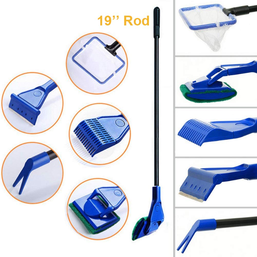 bedee Fish Tank Clean Kit 5 in 1 Aquarium Fish Glass Tank Cleaning Tool,with Gravel Rake,Algae Scraper,Cleaning Sponge,Water Plant Fork,Fish Net Tool Set