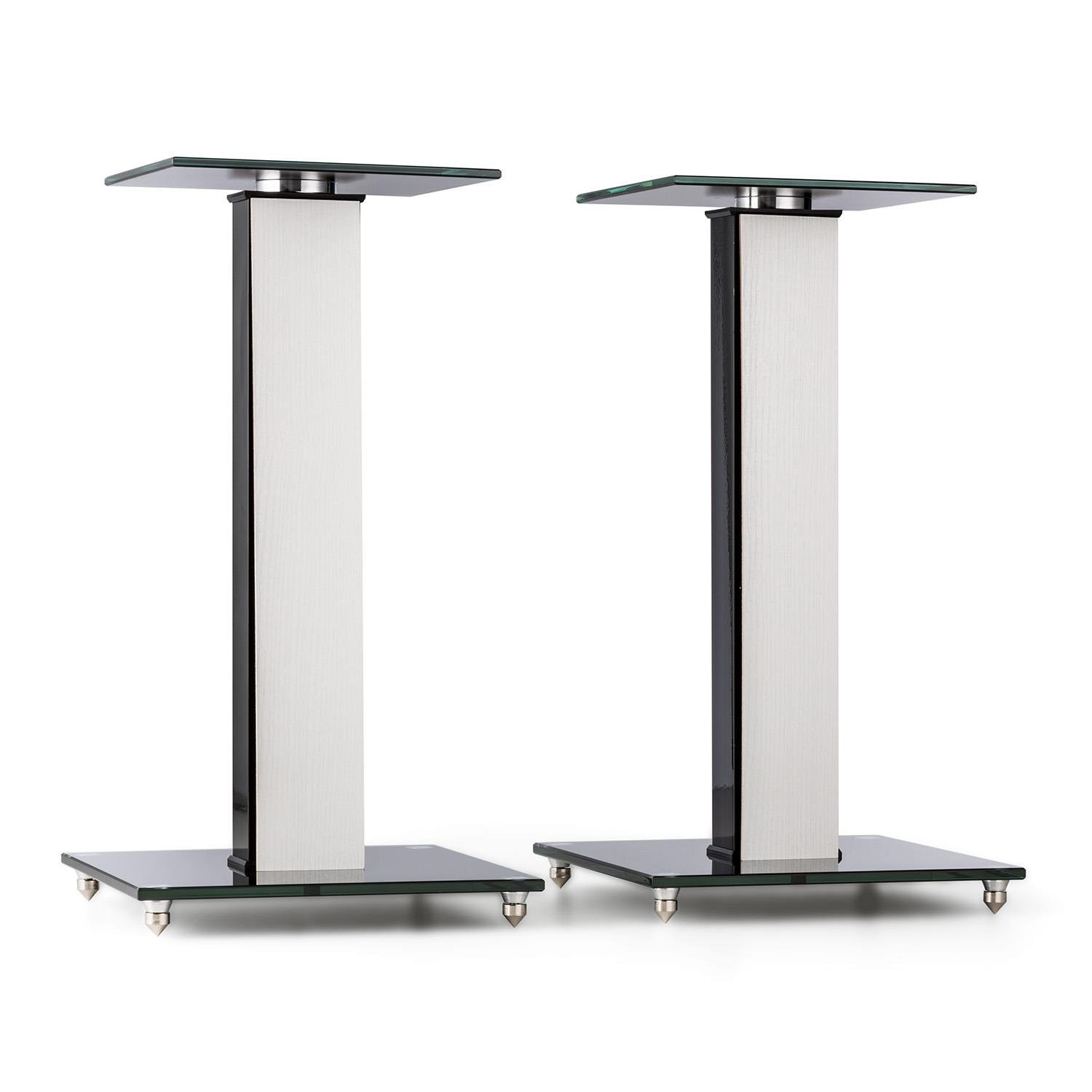 auna BS-03S-WHOA Speaker Stands Pair Aluminium Glass MDF Cable Duct Incl. - Spikes Oak Veneer