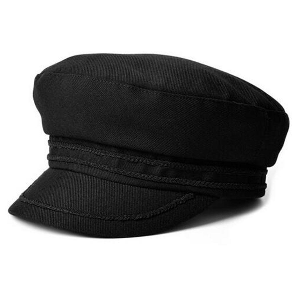 Otoño e invierno Algodón Modelos femeninos sombrero negro Sombrero de copa plano Mantener caliente F...