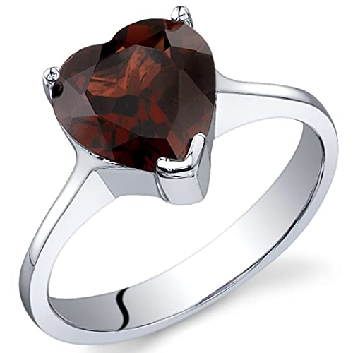 Cupids Heart 2.25 carats Garnet Ring in Sterling Silver Rhodium Nickel Finish Sizes 5 to 9