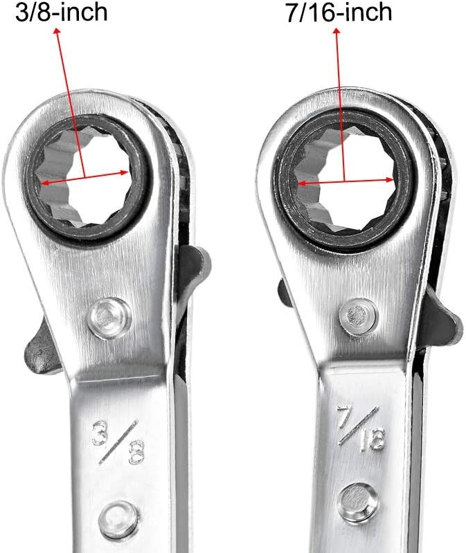 Reversible Ratcheting Wrench Cr-V 3//8-inch x 7//16-inch Double Box End