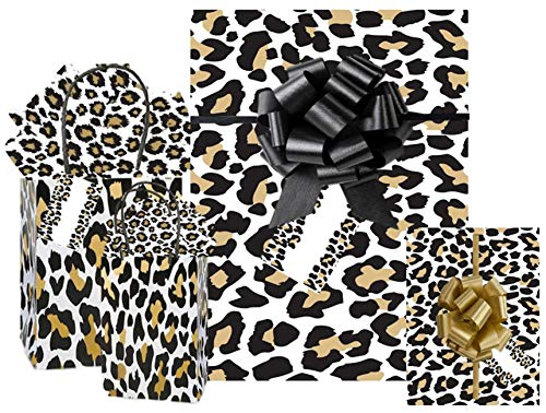 All in One Gift Wrapping Set Wrapping Paper Gift Bags Matching Tissue Paper Pull Bows and Tags (Leopard)