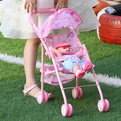 Irony Pink Doll Stroller Baby Carriage Foldable with 4 Wheels with Hood by Huang Cheng Toys (Image #3)