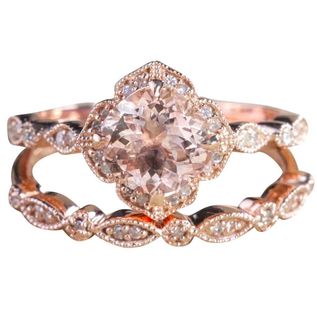 ballsFHK Fashion Luxury Women Rose Gold Inlaid Zircon Wedding Engagement Ring