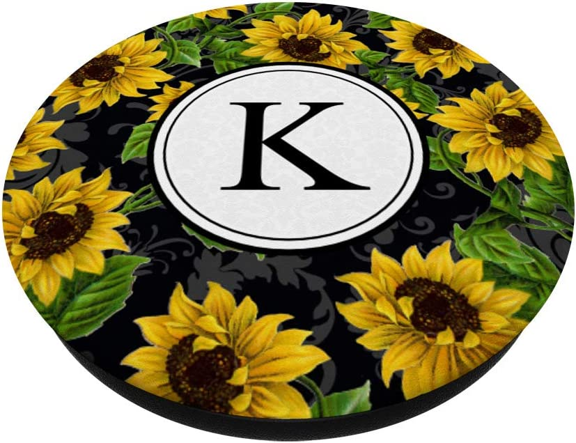 Sunflowers Yellow Flowers Pink White Monogram letter C PopSockets Grip and Stand for Phones and Tablets