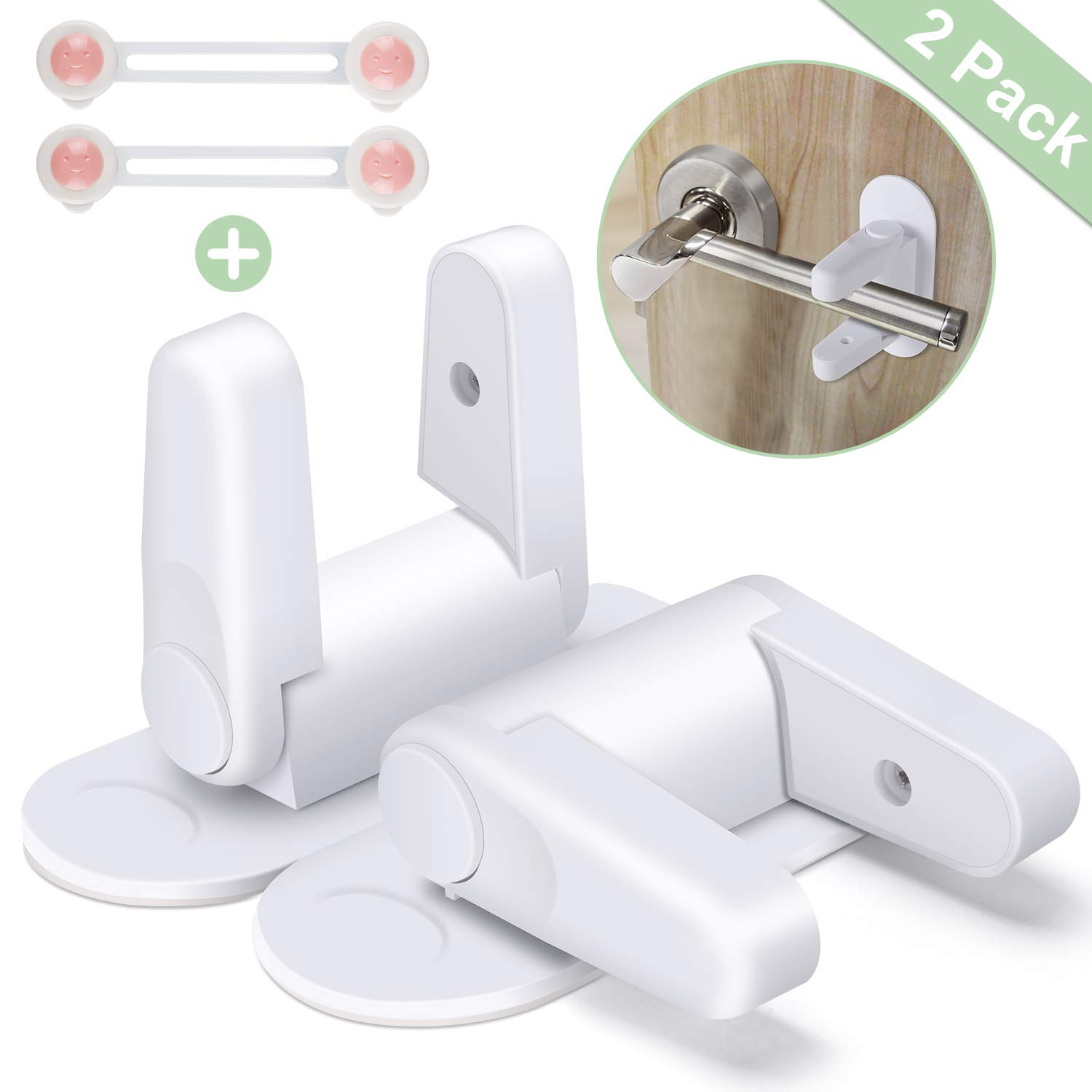 Door Lever Locks Upgraded Baby & Child Safety Locks Child Baby Proof Safety Lock Baby Proofing Kit with 3M Adhesive Tape (2 Pack)